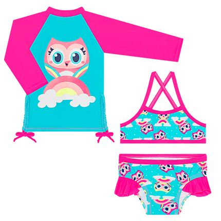 KIT1.CORUJA_A-moda-praia-menina-conjunto-banho-camiseta-surfista-biquini-lycra-coruja-puket-no-bebefacil-loja-de-roupas-enxoval-e-acessorios-para-bebes