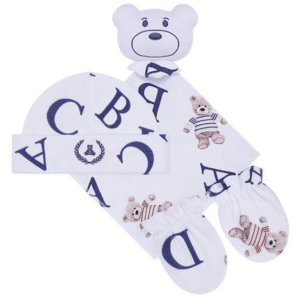 CQ20.042-137_A-enxoval-e-maternidade-bebe-menino-kit-touca-luva-e-naninha-urso-letras-coquelicot-no-bebefacil-loja-de-roupas-enxoval-e-acessorios-para-bebes