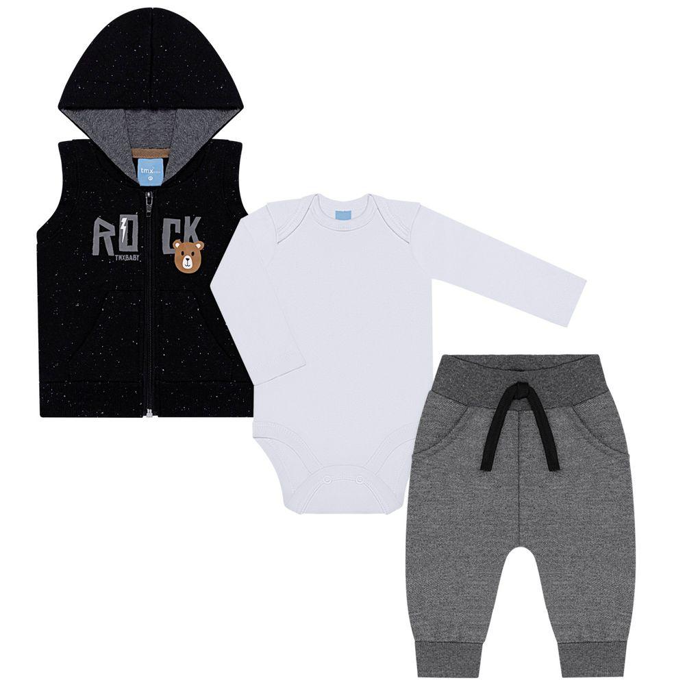 TMX4077-PT-P_A-moda-bebe-menino-colete-capuz-body-longo-calca-saruel-moletom-rock-preto-tmx-no-bebefacil-loja-de-roupas-enxoval-e-acessorios-para-bebes