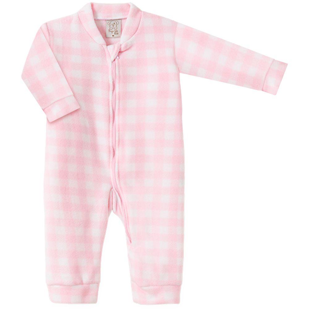 PL9028.XD-A-moda-bebe-menina-macacao-longo-com-ziper-em-microsoft-xadrez-rosa-pingo-lele-no-bebefacil-loja-de-roupas-enxoval-e-acessorios-para-bebes