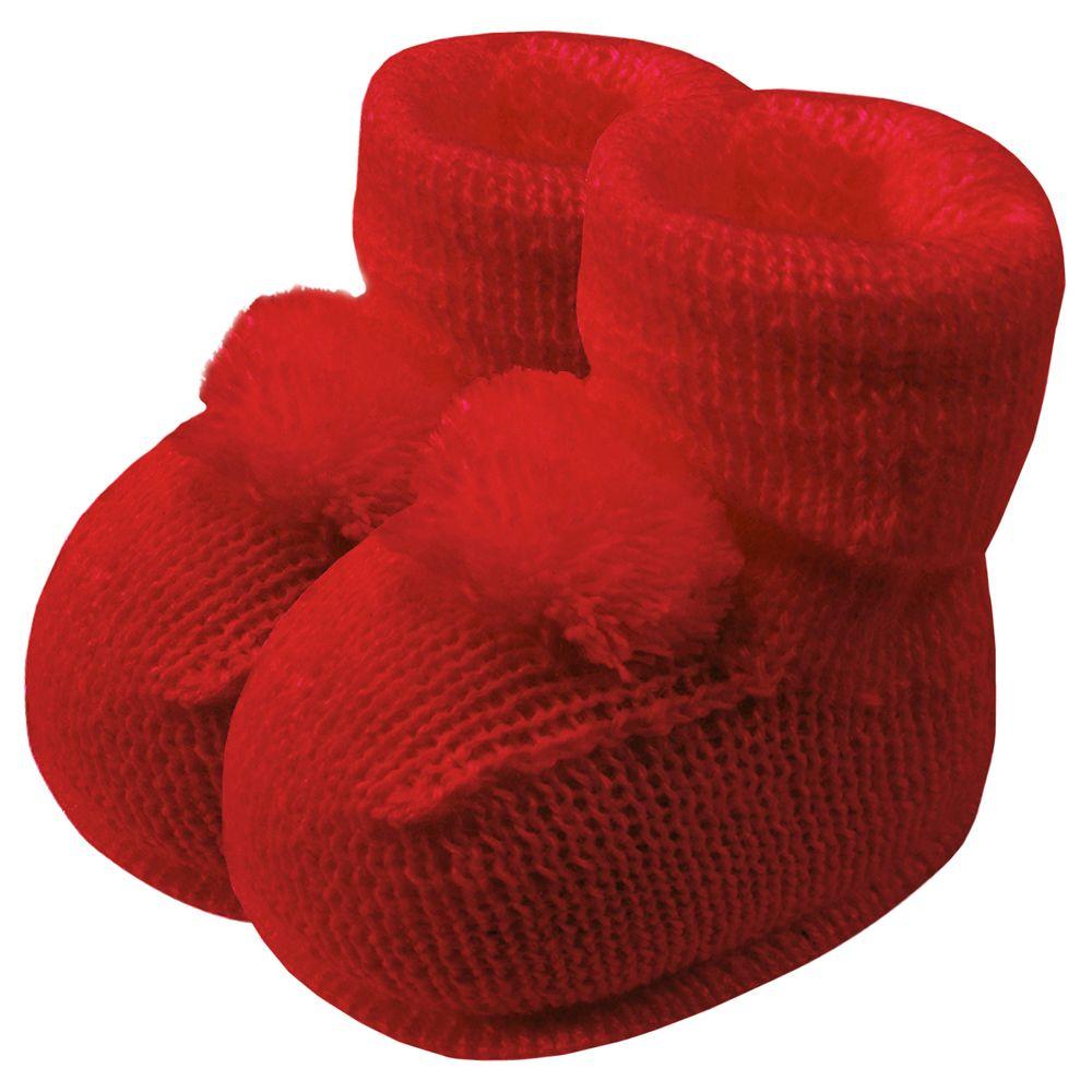 01019013007-A-sapatinho-bebe-menina-botinha-tricot-pompom-vermelho-roana-no-bebefacil-loja-de-roupas-enxoval-e-acessorios-para-bebes
