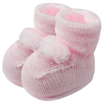 01019013046-A-sapatinho-bebe-menina-botinha-tricot-pompom-rosa-roana-no-bebefacil-loja-de-roupas-enxoval-e-acessorios-para-bebes