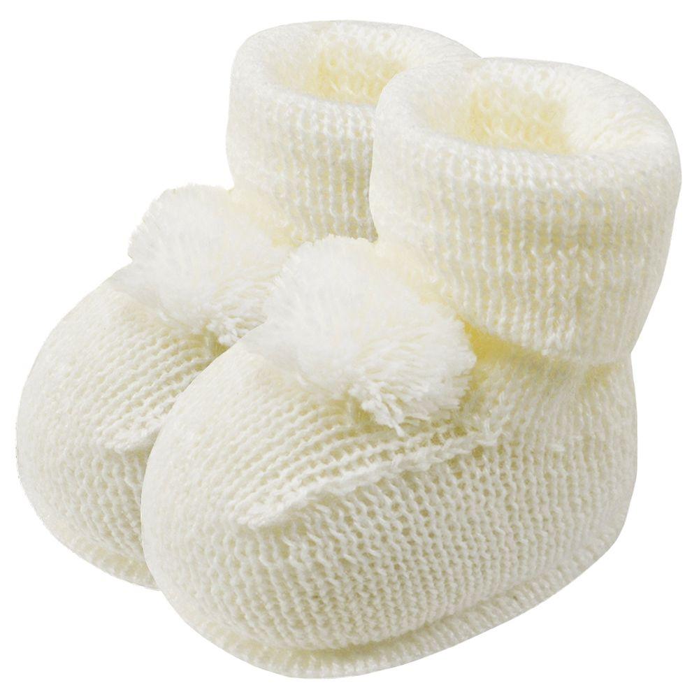 01019013031-A-sapatinho-bebe-menina-botinha-tricot-pompom-marfim-roana-no-bebefacil-loja-de-roupas-enxoval-e-acessorios-para-bebes