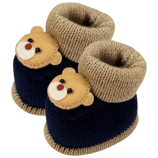 01419025107-A-sapatinho-bebe-menina-botinha-tricot-ursinho-marinho-bege-roana-no-bebefacil-loja-de-roupas-enxoval-e-acessorios-para-bebes