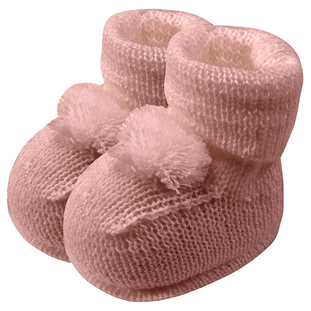 01019013032-A-sapatinho-bebe-menina-botinha-tricot-pompom-rosa-seco-roana-no-bebefacil-loja-de-roupas-enxoval-e-acessorios-para-bebes