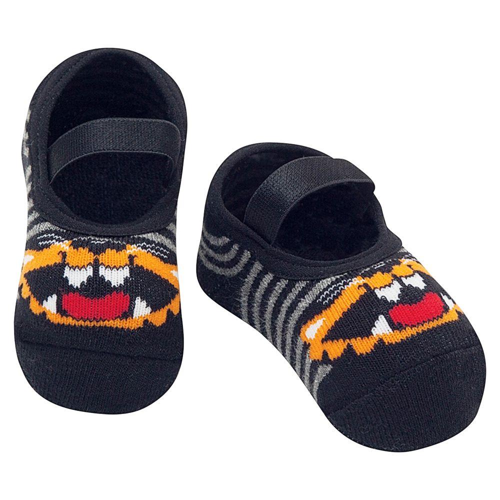 PK7039-LE-A-moda-bebe-menino-meia-sapatilha-Gato-mescla-escuro-puket-no-bebefacil-loja-de-roupas-enxoval-e-acessorios-para-bebes