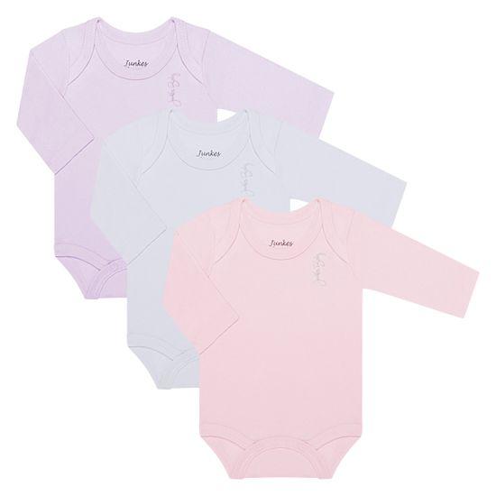 JUN20108_A-moda-bebe-menina-kit-3-bodies-longos-em-suedine-lilas-branco-rosa-junkes-baby-no-bebefacil-loja-de-roupas-enxoval-e-acessorios-para-bebes
