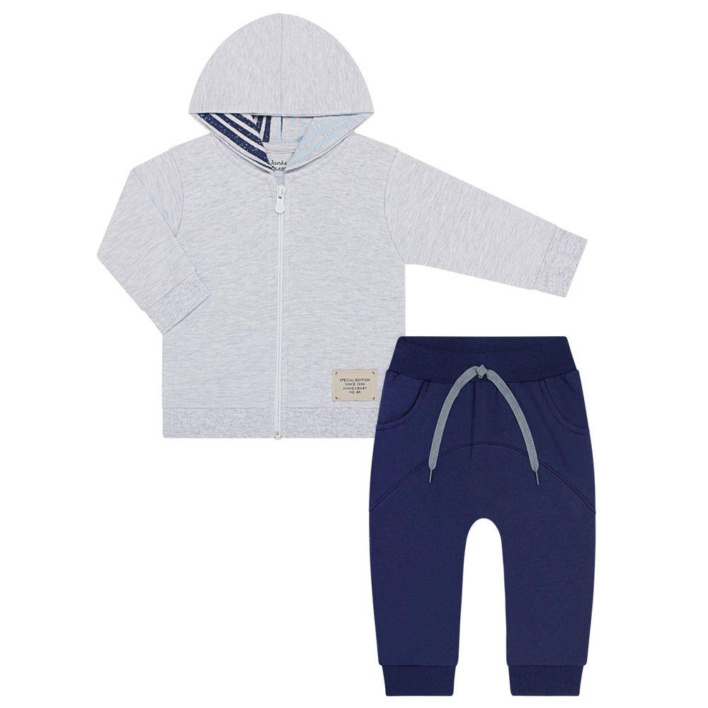 JUN51031-51033_A-moda-bebe-menino-conjunto-jaqueta-com-capuz-e-calca-em-moletinho-mescla-marinho-junkes-baby-no-bebefacil-loja-de-roupas-enxoval-e-acessorios-para-bebes