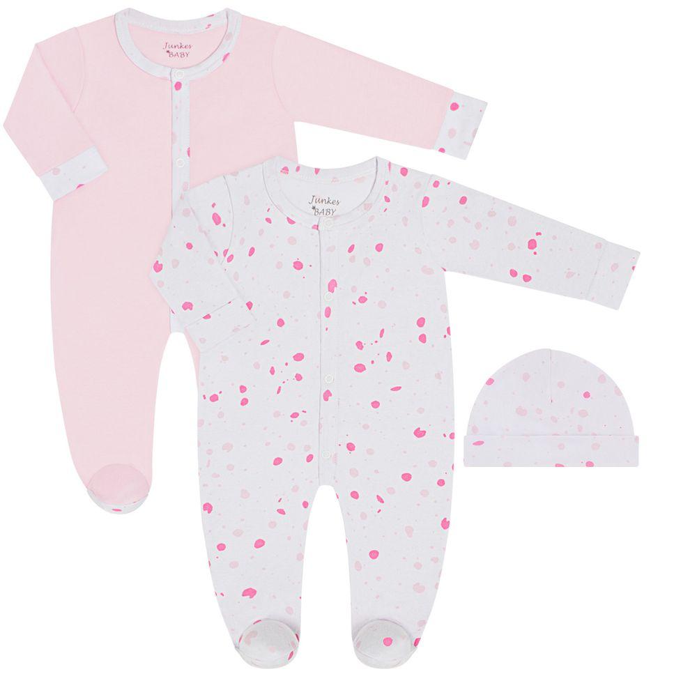 JUN30113_A-moda-bebe-menina-conjunto-2-macacoes-longo-com-touca-em-suedine-bolinhas-junkes-babay-no-bebefacil-loja-de-roupas-enxoval-e-acessorios-para-bebes