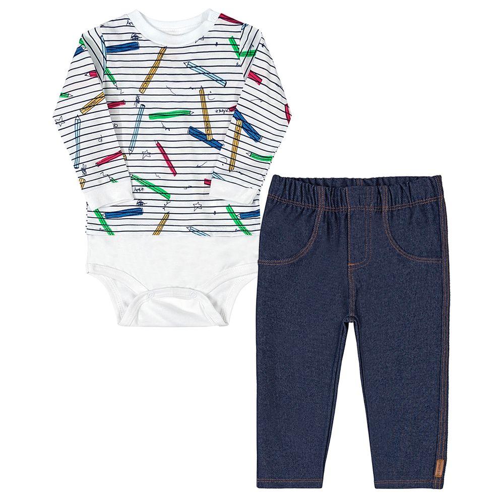 42704-LIS543-A-Body-longo-c-Calca-jeans-para-bebe-em-Moletom-Lapis---Up-Baby