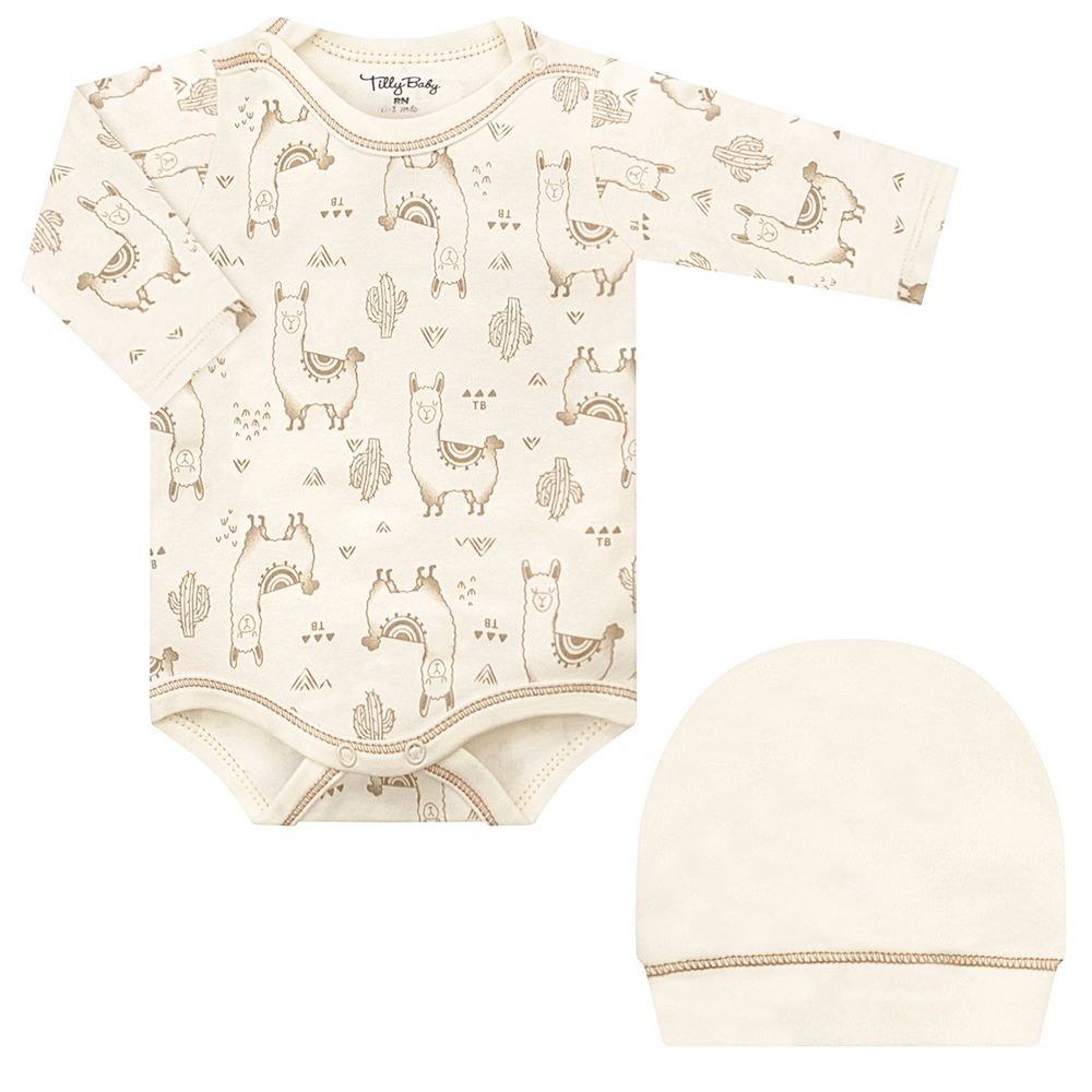 TB202106-A-moda-bebe-menino-menina-kit-body-longo-touca-em-suedine-lhamas-marfim-tilly-baby-no-bebefacil-loja-de-roupas-enxoval-e-acessorios-para-bebes