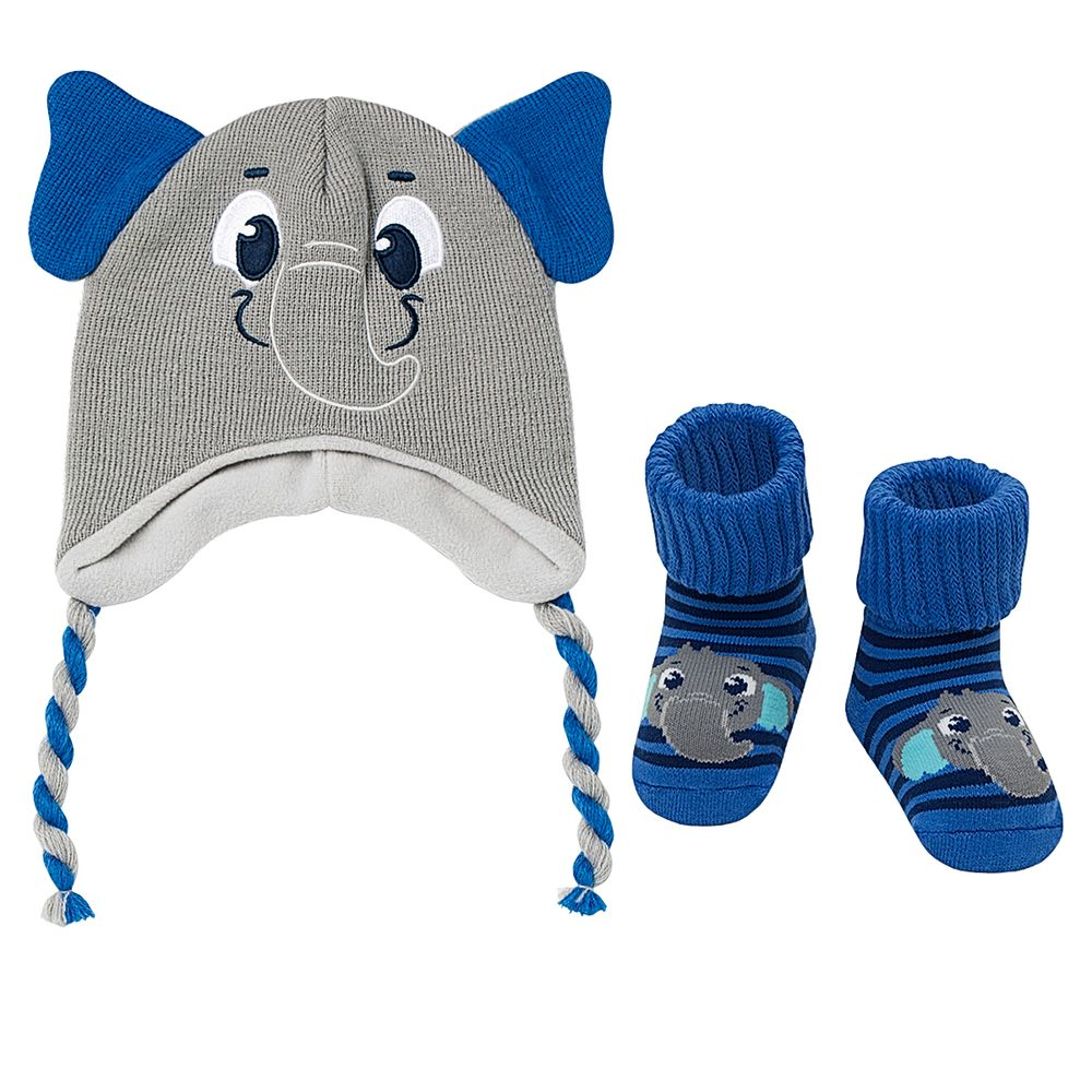 PK6958-EL-A-Kit-Touca-e-Meia-Soquete-para-bebe-em-la-Elefantinho---Puket