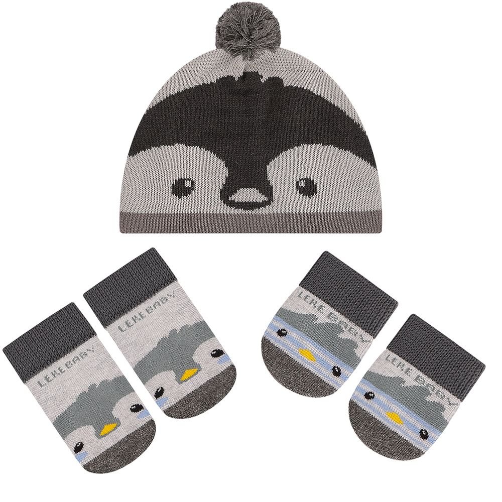 LK402.004-A-moda-bebe-menino-menina-acessorios-kit-touca-luva-sapatinho-em-tricot-pinguinzinho-leke-no-bebefacil-loja-de-roupas-enxoval-e-acessorios-para-bebes