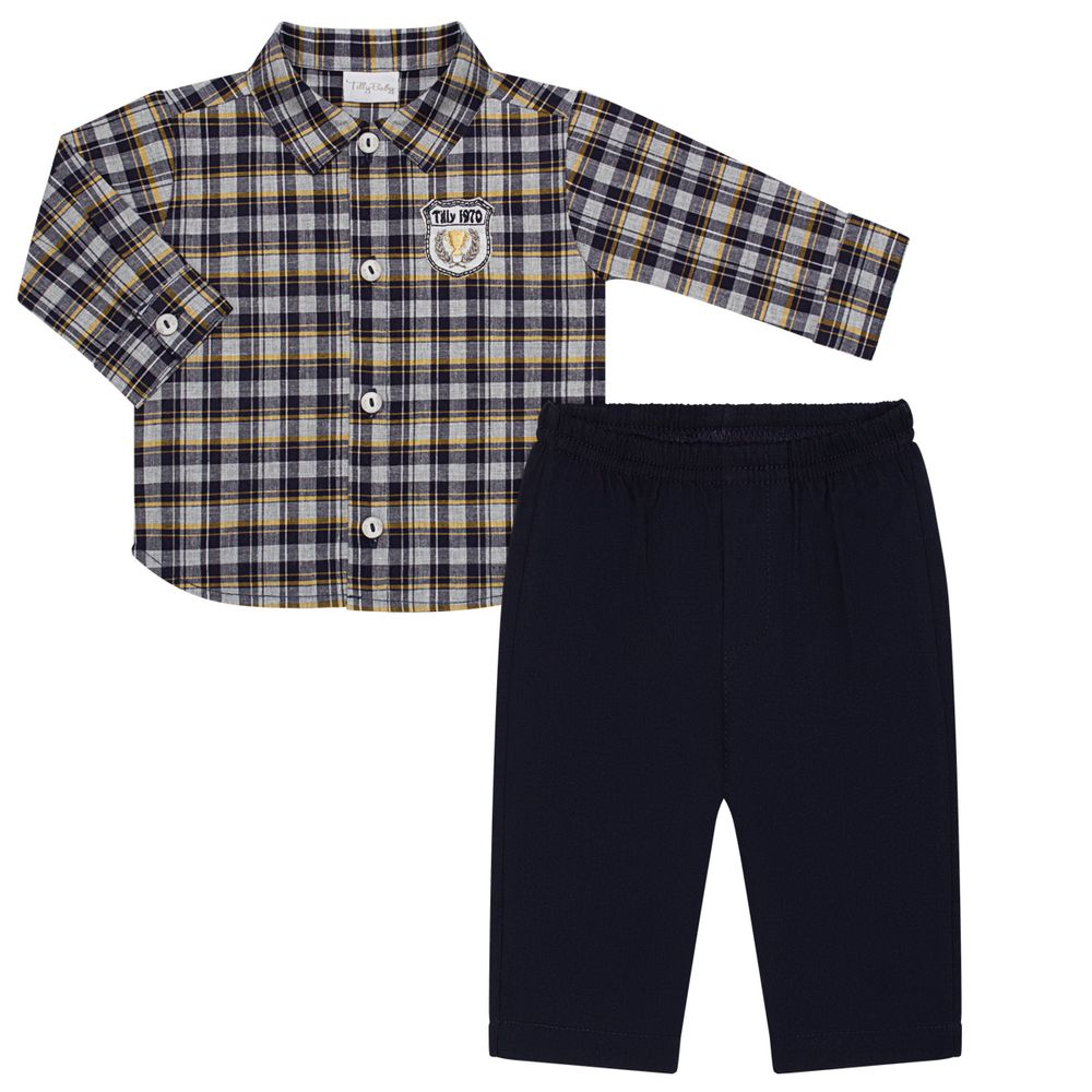 TB202303-A-moda-bebe-menino-conjunto-camisa-manga-longa-calca-em-veludo-xadrez-tilly-baby