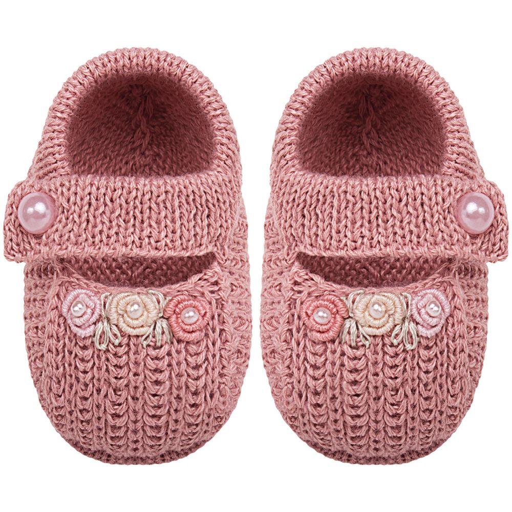 01429007032_A-moda-bebe-menina-sapatinho-tricot-florzinhas-rose-roana-no-bebefacil-loja-de-roupas-enxoval-e-acessorios-para-bebes