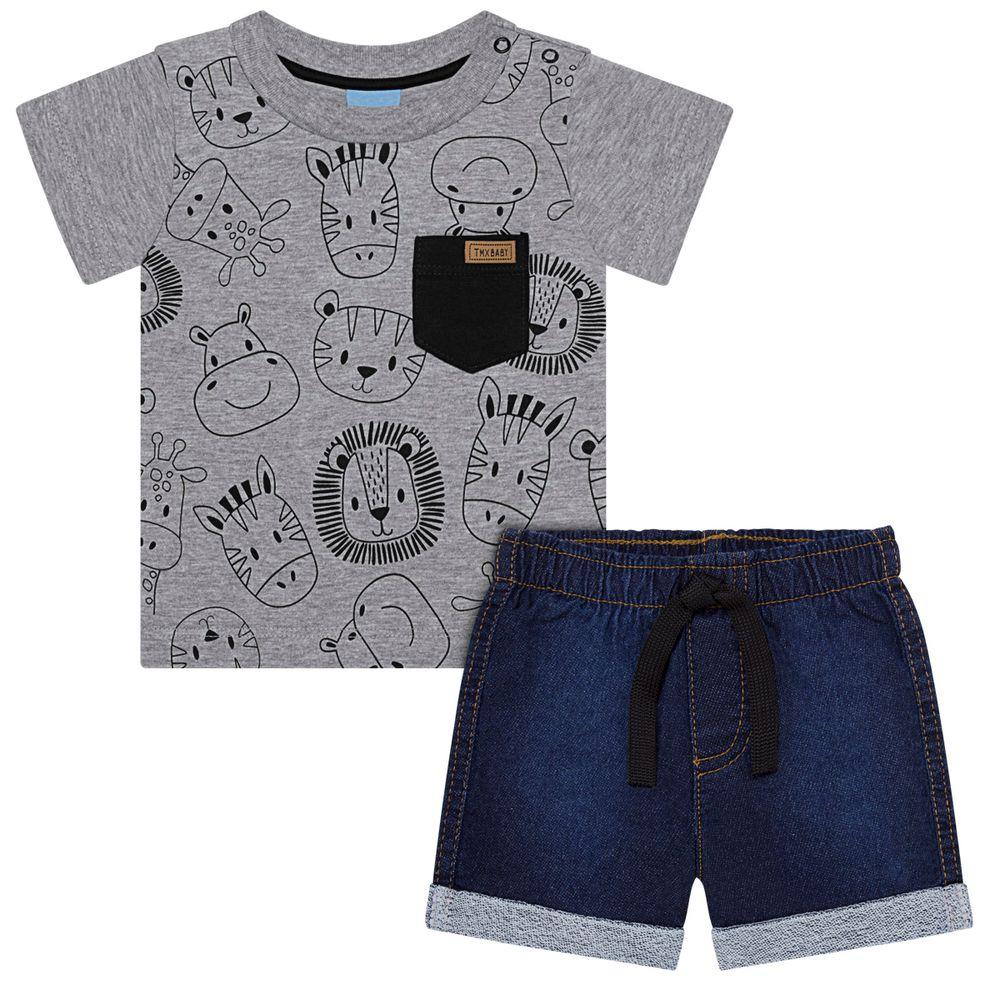 TMX4085_A-moda-bebe-menino-camiseta-com-short-denim-baby-animals-TMX-no-bebefacil-loja-de-roupas-para-bebes