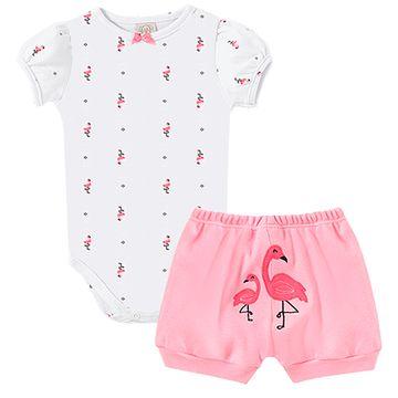 PL66532-A-moda-bebe-menina-conjunto-body-curto-shorts-suedine-flamingo-pingo-lele-no-bebefacil-loja-de-roupas-enxoval-e-acessorios-para-bebes
