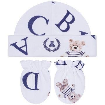 CQ20.040041-137-A-enxoval-e-maternidade-bebe-menino-kit-touca-luva-urso-letras-coquelicot-no-bebefacil-loja-de-roupas-enxoval-e-acessorios-para-bebes