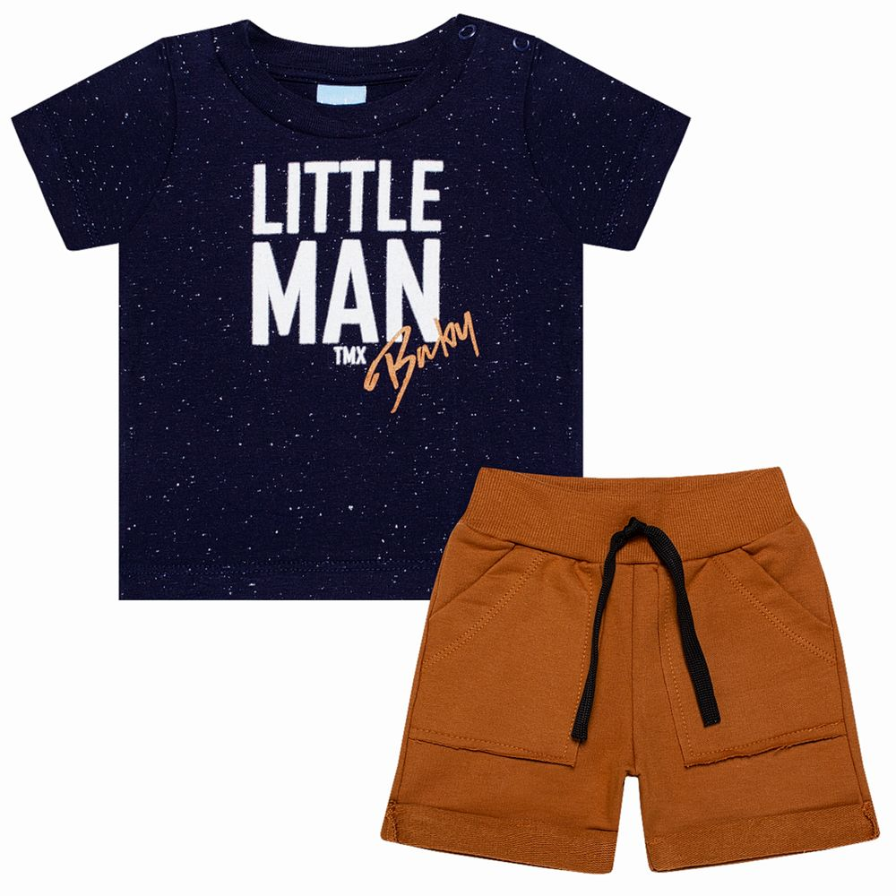 TMX4081-A-moda-bebe-menino-conjunto-camiseta-bermuda-em-malha-moletinho-little-man-TMX-no-bebefacil-loja-de-roupas-para-bebes