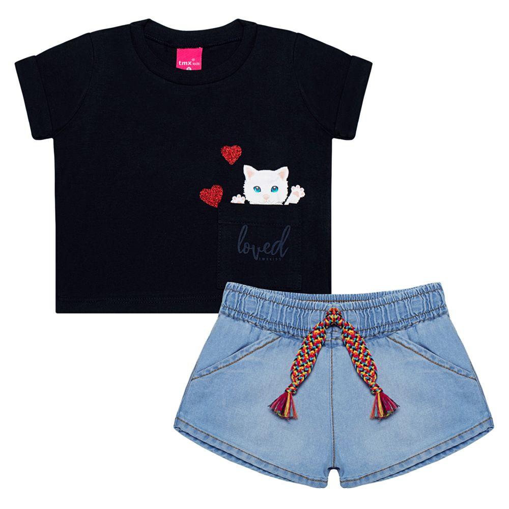TMX1227-A-moda-bebe-menina-conjunto-cropped-com-short-denim-Cat-TMX-no-bebefacil-loja-de-roupas-enxoval-para-bebes