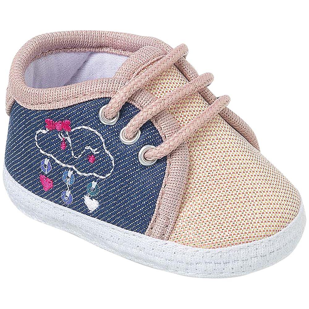 KB3265-169-A-sapatinhos-bebe-menina-tenis-em-malha-nude-jeans-keto-keto-baby-no-bebefacil-loja-de-roupas-enxoval-e-acessorios-para-bebes