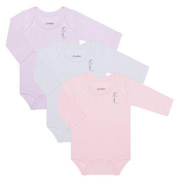 JUN20105-F-A-moda-bebe-menina-kit-3-bodies-longos-em-suedine-lilas-branco-rosa-junkes-baby-no-bebefacil-loja-de-roupas-enxoval-e-acessorios-para-bebes