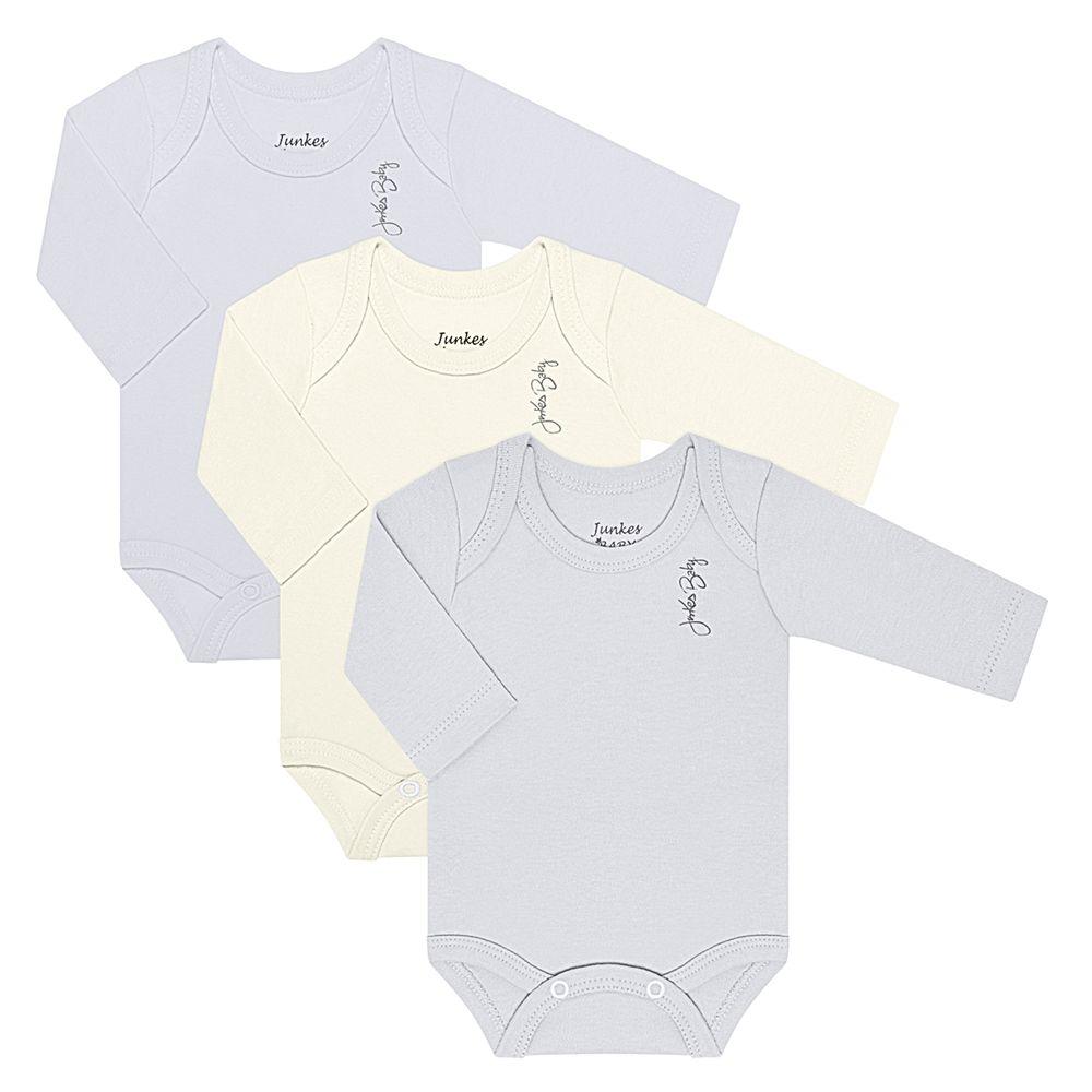 JUN20105-N-A-moda-bebe-menino-kit-3-bodies-longos-em-suedine-branco-off-white-mescla-junkes-baby-no-bebefacil-loja-de-roupas-enxoval-e-acessorios-para-bebes