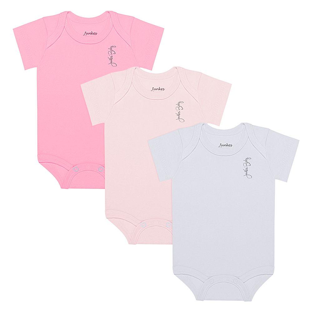 JUN20114-A-moda-bebe-menina-kit-3-bodies-curtos-em-suedine-pink-rosa-branco-junkes-baby-no-bebefacil-loja-de-roupas-enxoval-e-acessorios-para-bebes