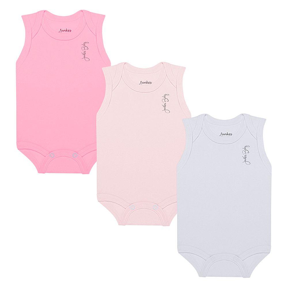 JUN20113-A-moda-bebe-menina-kit-3-bodies-regata-em-suedine-pink-rosa-branco-junkes-baby-no-bebefacil-loja-de-roupas-enxoval-e-acessorios-para-bebes