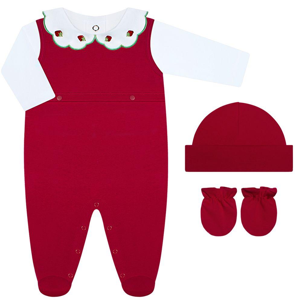 CQ20.054S-05-A-moda-bebe-menina-saida-maternidade-jardineira-body-longo-touca-par-de-luvas-moranguinho--coquelicot-no-bebefacil
