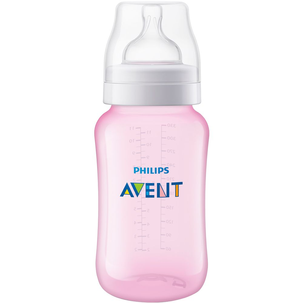 SCF817-17-A-Mamadeira-Anticolica-Rosa-330ml-3m---Philips-Avent
