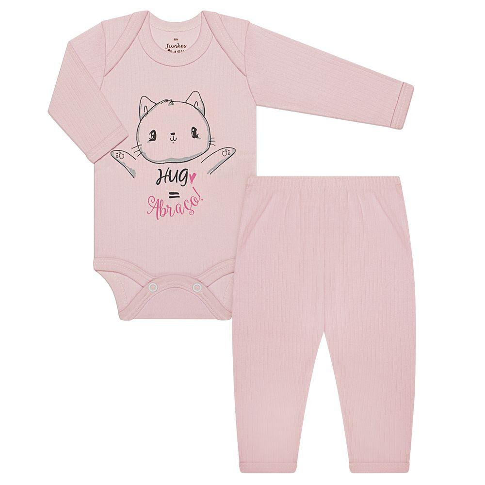 JUN30101-RS-A-moda-bebe-menina-conjunto-body-longo-calca-em-malha-canelada-gatinha-abraco-pink-junkes-baby-no-bebefacil