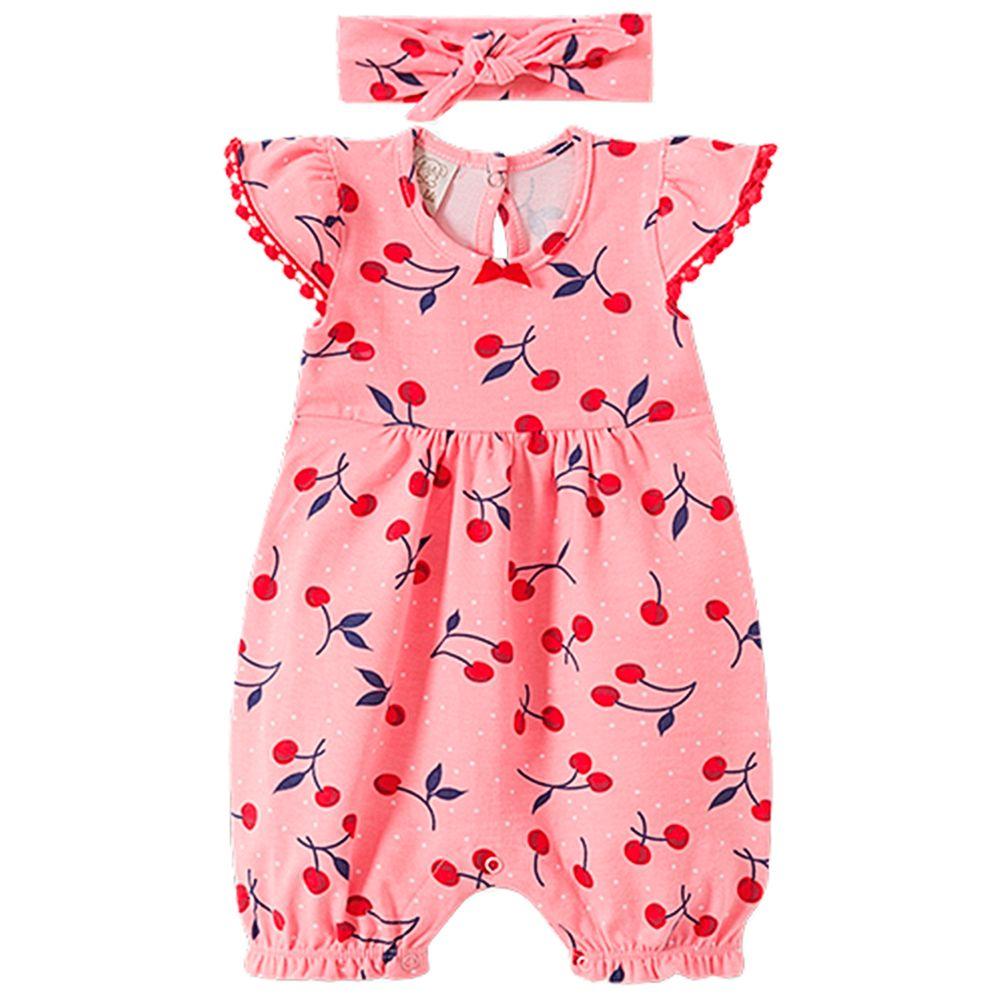 PL66555-A-moda-bebe-menina-macacao-curto-faixa-em-suedine-cerejinhas-pingo-lele-no-bebefacil-loja-de-roupas-enxoval-e-acessorios-para-bebes