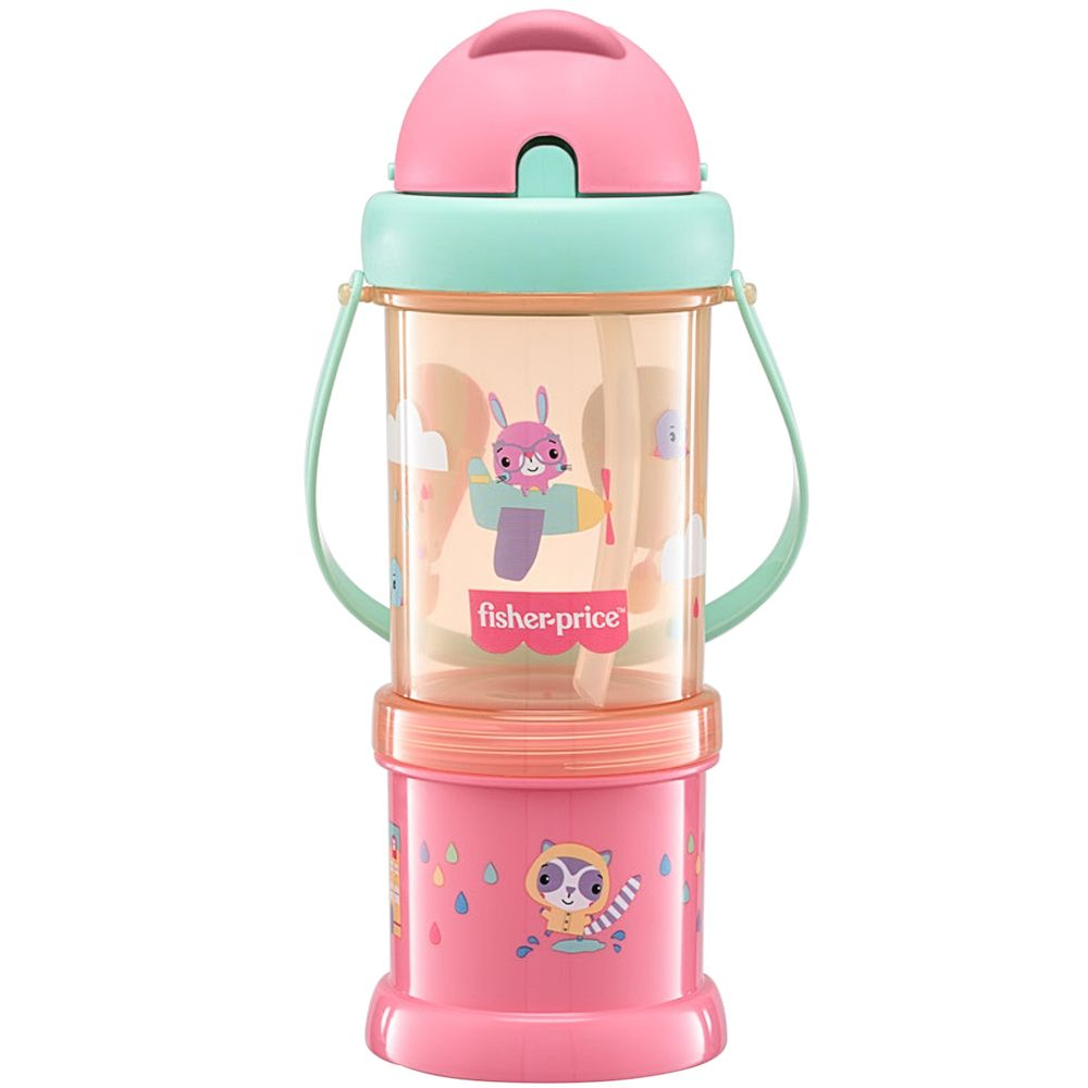 BB1013-A-Copo-com-Porta-Snack-Playful-Rosa-Sunset-300ml-12m---Fisher-Price