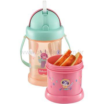 BB1013-B-Copo-com-Porta-Snack-Playful-Rosa-Sunset-300ml-12m---Fisher-Price