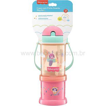 BB1013-C-Copo-com-Porta-Snack-Playful-Rosa-Sunset-300ml-12m---Fisher-Price