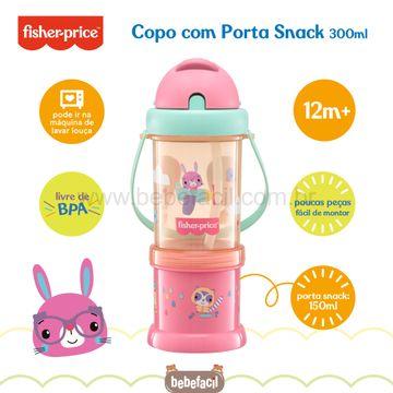 BB1013-D-Copo-com-Porta-Snack-Playful-Rosa-Sunset-300ml-12m---Fisher-Price