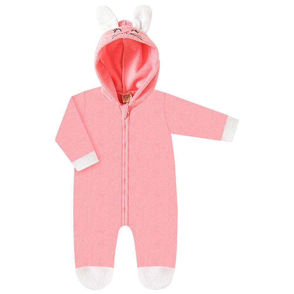 PL66732.108-A-moda-bebe-menina-macacao-longo-com-capuz-plush-rosa-coelhinha-pingo-lele-no-bebefacil-loja-de-roupas-enxoval-e-acessorios-para-bebes
