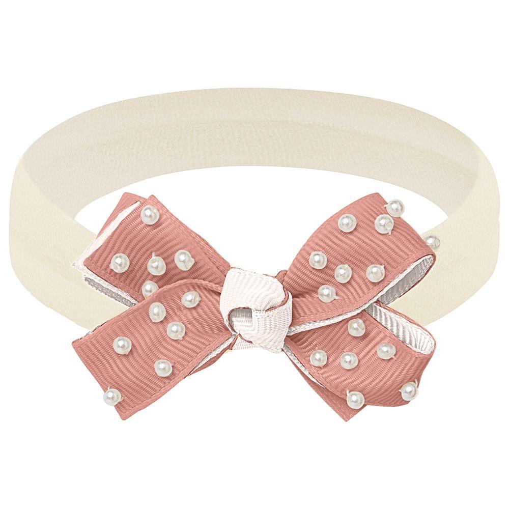00549004365-A-moda-bebe-menina-acessorios--faixa-de-cabelo-laco-perolas-rose-marfim-roana-no-bebefacil-loja-de-roupas-enxoval-e-acessorios-para-bebes