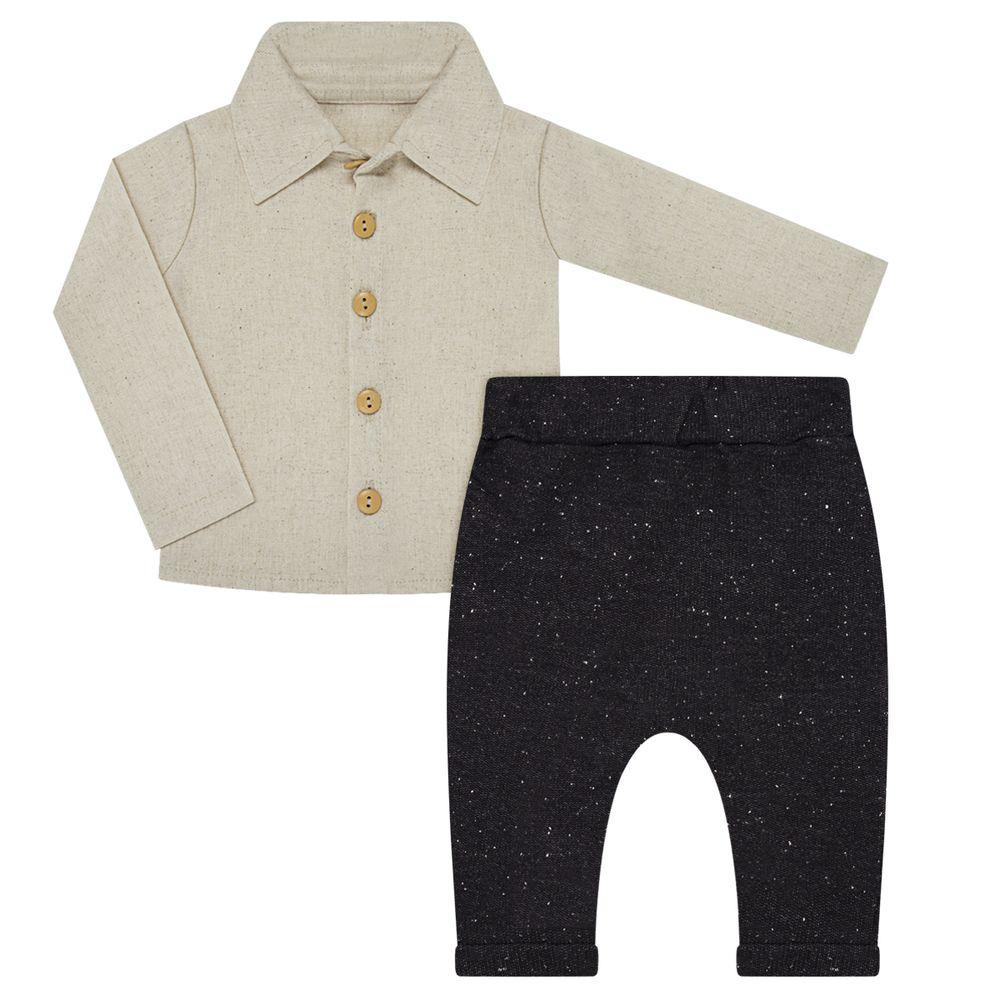 BBG0645001-A-moda-bebe-menino-camisa-linho-calca-saruel-caqui-preta-baby-gut-mo-bebefacil