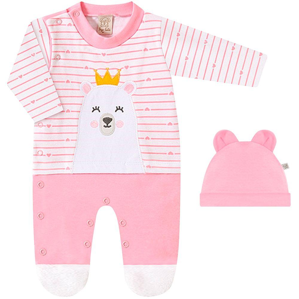 PL66669.1054-A-moda-menina-macacao-longo-touquinha-suedine-ursa-coracao-rosa-para-bebe-Pingo-Lele