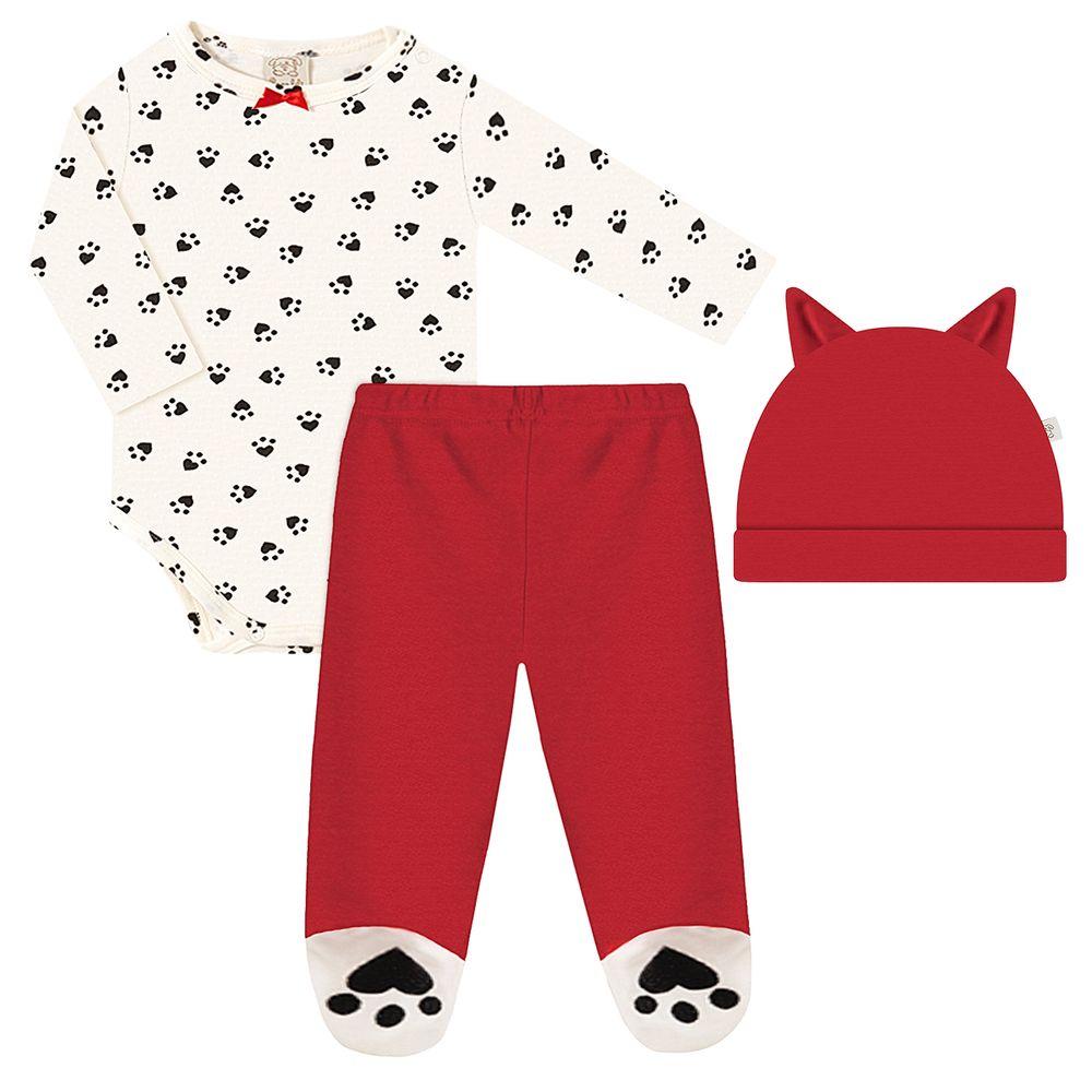 PL66662.1048-A-moda-bebe-menina-conjunto-body-longo-calca-touca-patinha-vermelho-pingo-lele-no-bebefacil