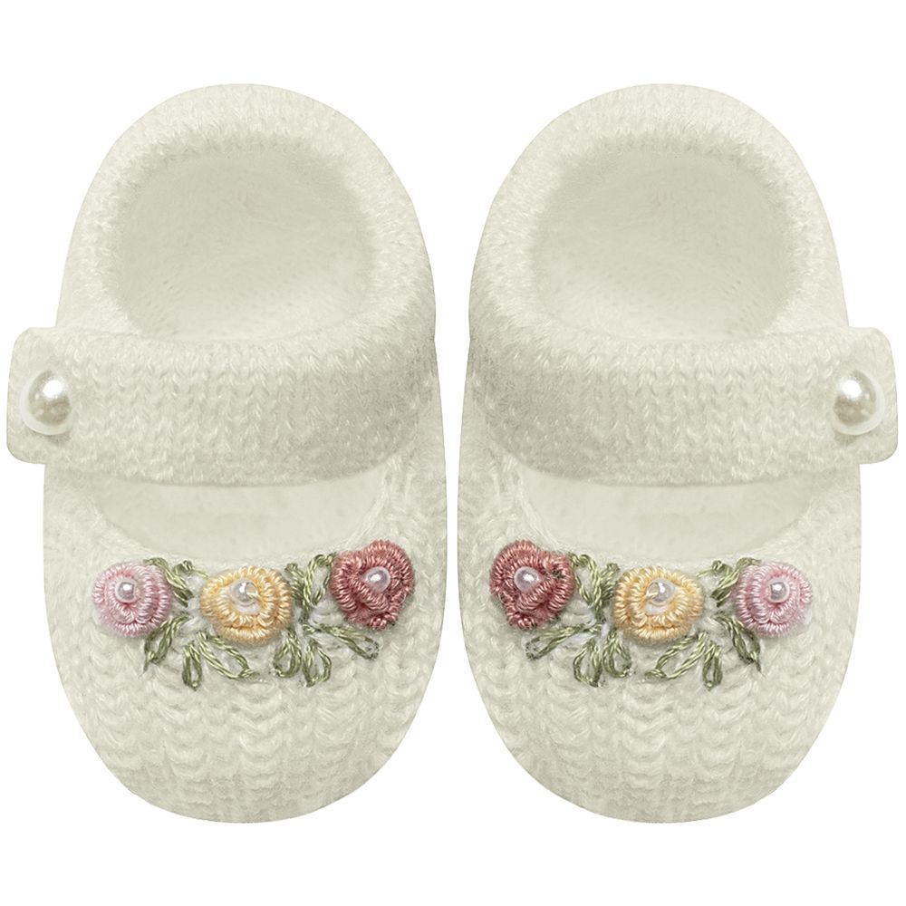 01429007031-A-sapatinho-bebe-menina-sapatinho-tricot-florzinhas-marfim-roana-no-bebefacil-loja-de-roupas-enxoval-e-acessorios-pa