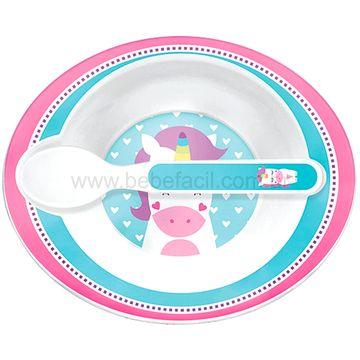 BUBA10707-B-Bowl-com-Colher-Animal-Fun-Unicornio-6m---Buba