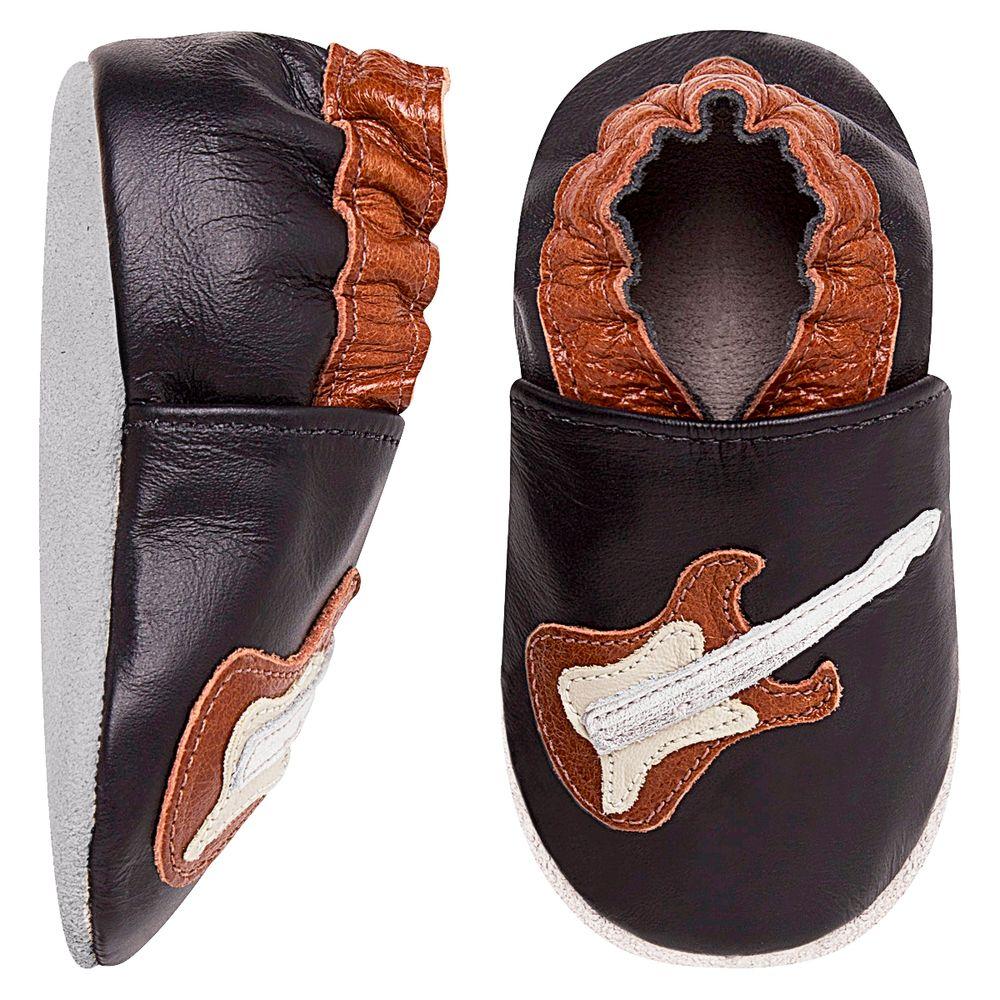 BABO93-A-Tenis-Guitarra-para-bebe-em-couro-Eco-Preto-Marrom----Babo-Uabu