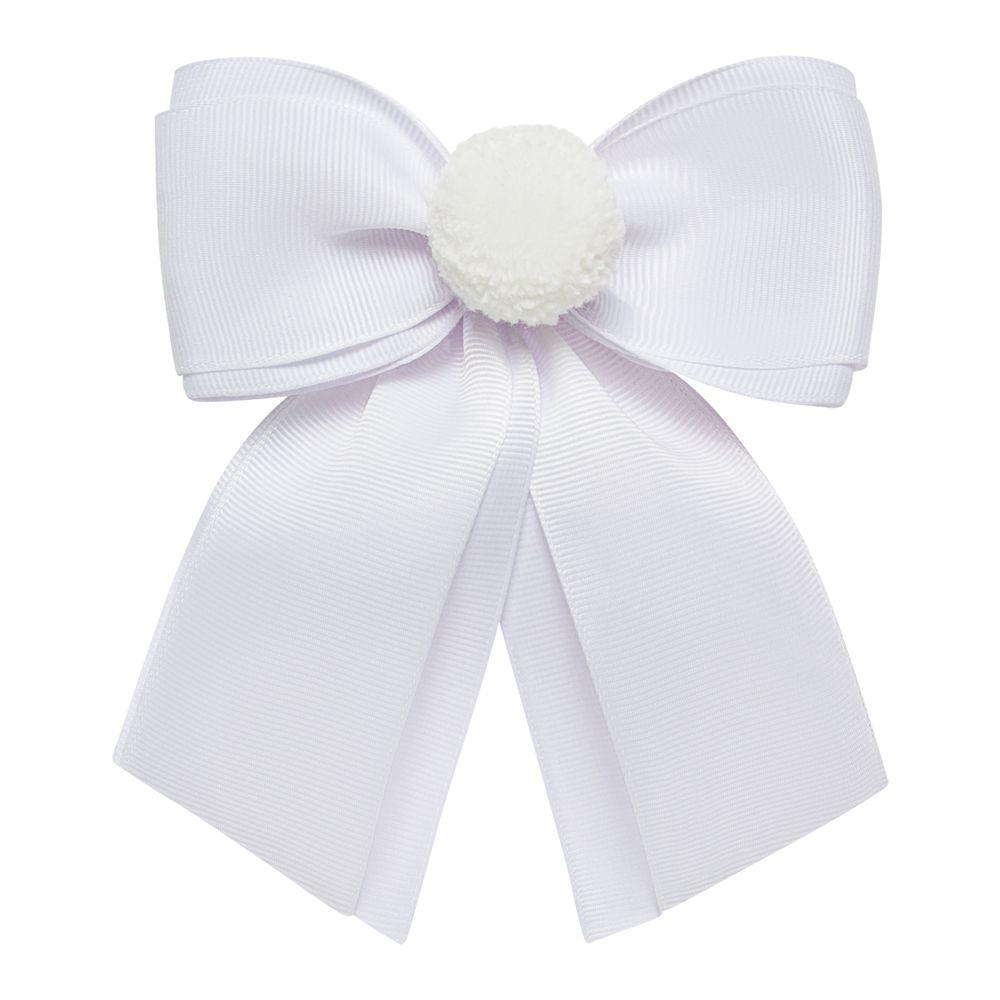 0123111001-A-acessorios-menina--presilha-maxi-laco-pompom-branca-roana-no-bebefacil-loaj-de-roupas-para-bebes