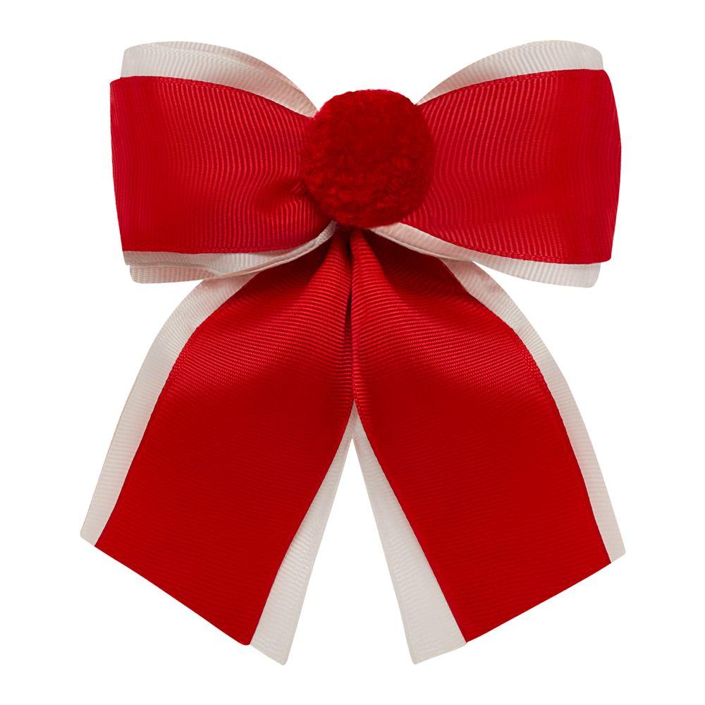 0123111007-A-acessorios-menina--presilha-maxi-laco-pompom-vermelha-marfim-roana-no-bebefacil-loaj-de-roupas-para-bebes