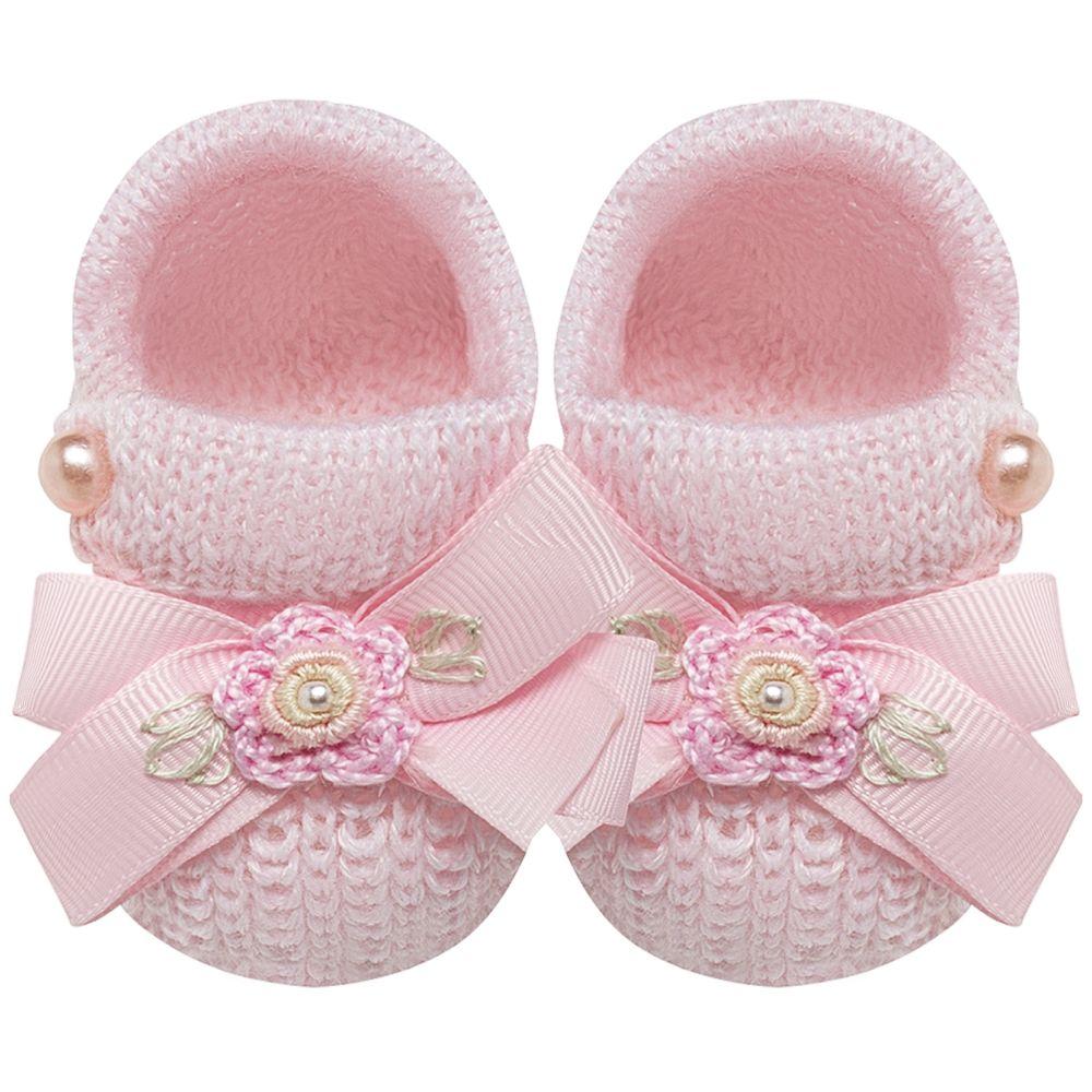 01421109046-A-sapatinho-bebe-menina-sapatinho-tricot-laco-florzinhas-rosa-roana-no-bebefacil-loja-de-roupas-enxoval-e-acessorios-para-bebes
