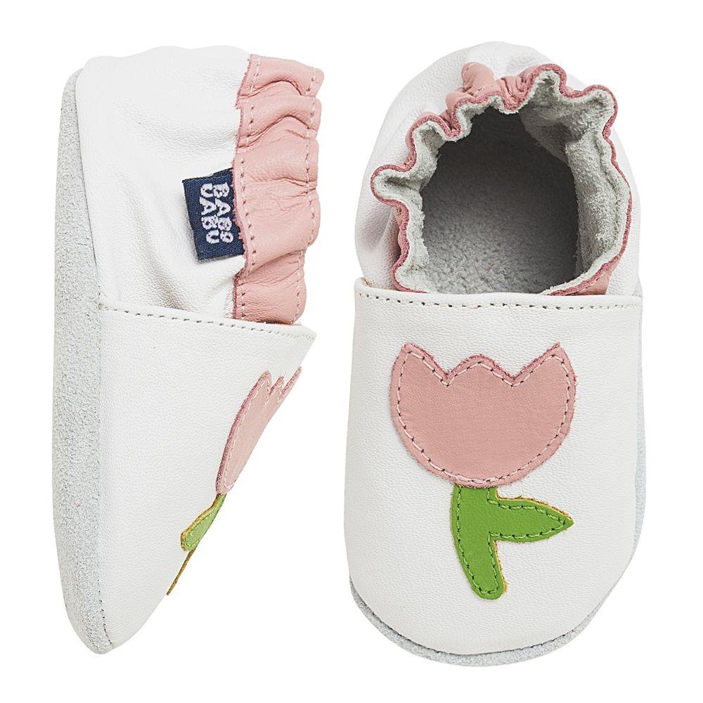 BABO96-A-Tenis-Tulipa-para-bebe-em-couro-Eco-Branco-Rosa---Babo-Uabu