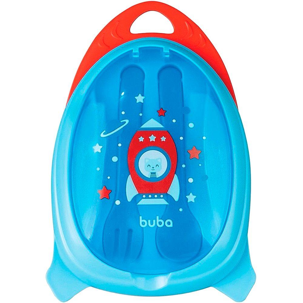 BUBA13514-A-Kit-Refeicao-com-Talher-e-Estojo-Foguete-Azul-6m---Buba